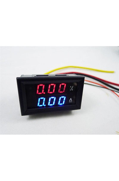 DC 0-100V/5A Digital Ammeter Voltmeter 2in1 Digital Voltage Amp Monitor Meter Red/Blue LED Dual Color Display